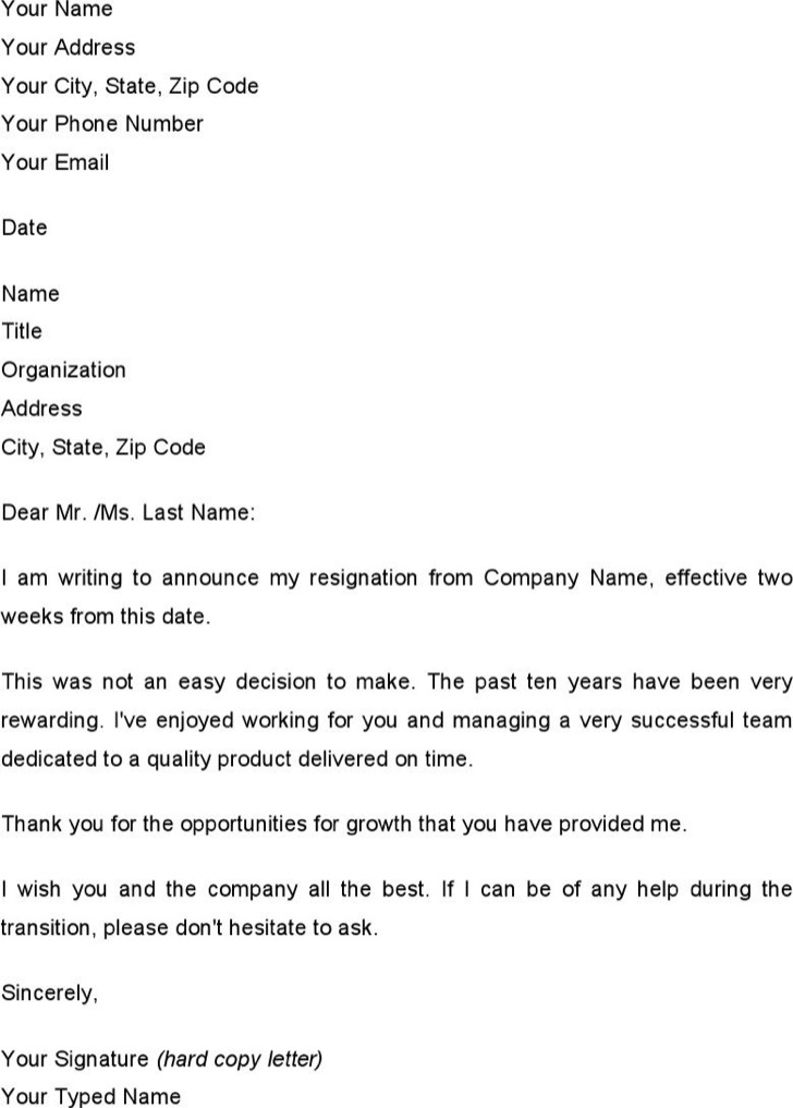 Letter Of Resignation Example Two Weeks Notice