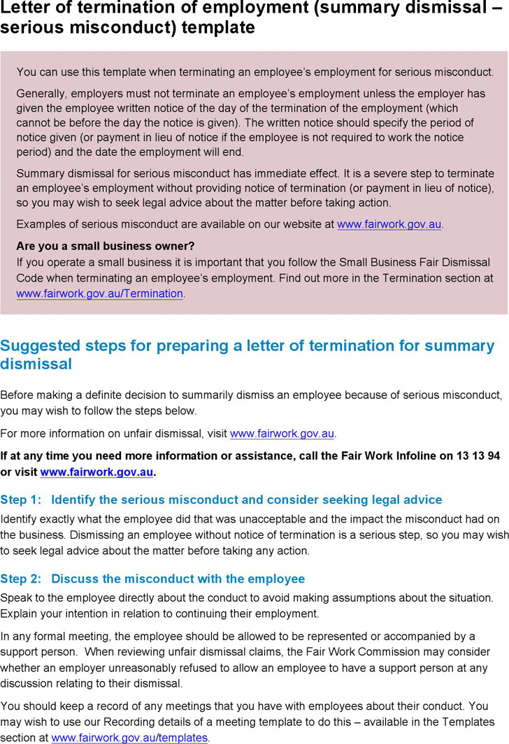 Letter of Termination of Employment (Summary Dismissal - Serious Misconduct) Template