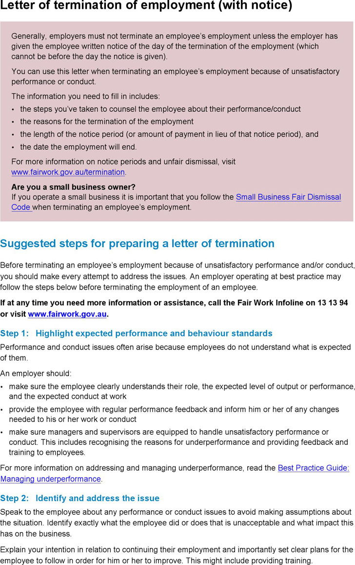 Letter of Termination of Employment (With Notice)