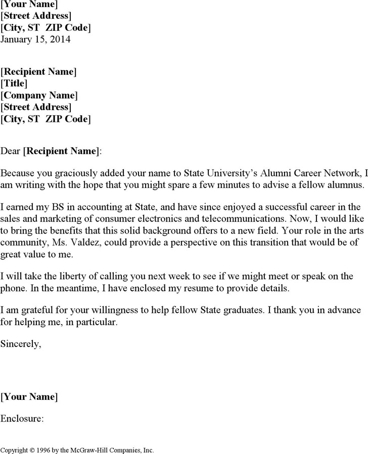 Letter Requesting Meeting With Fellow Alumnus