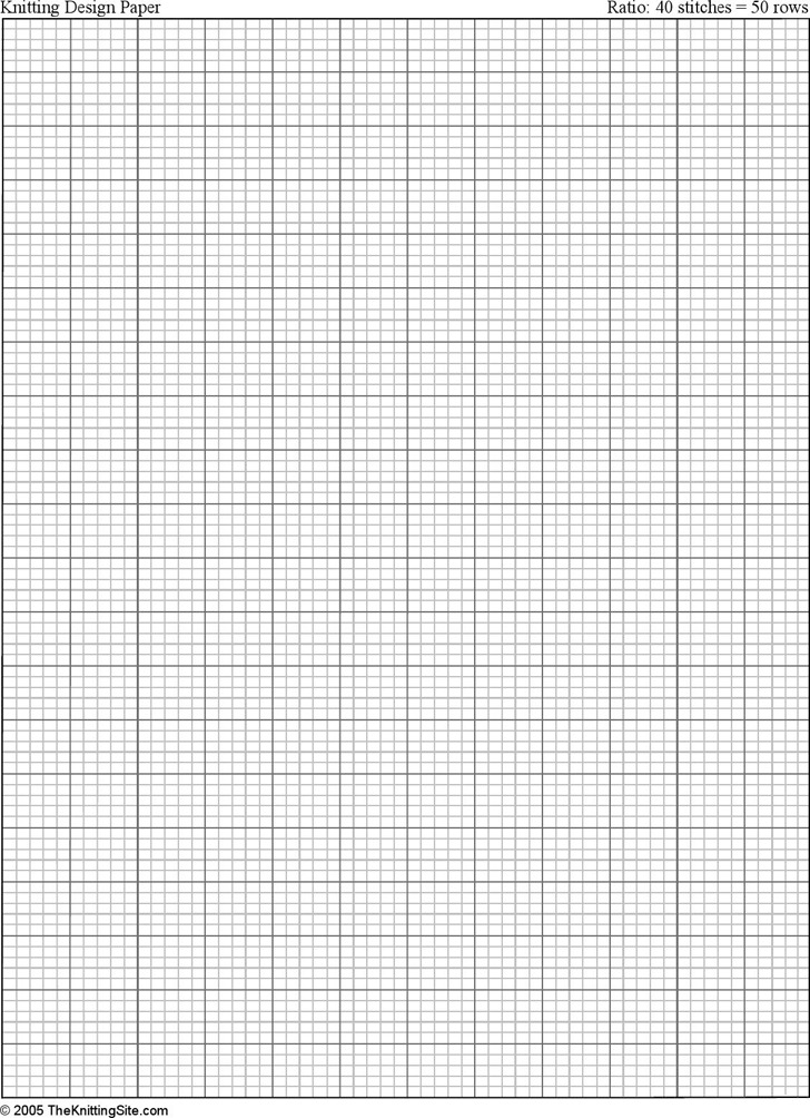Letter Sized Knitting Graph Paper, Ratio 4:5, Portrait Orientation