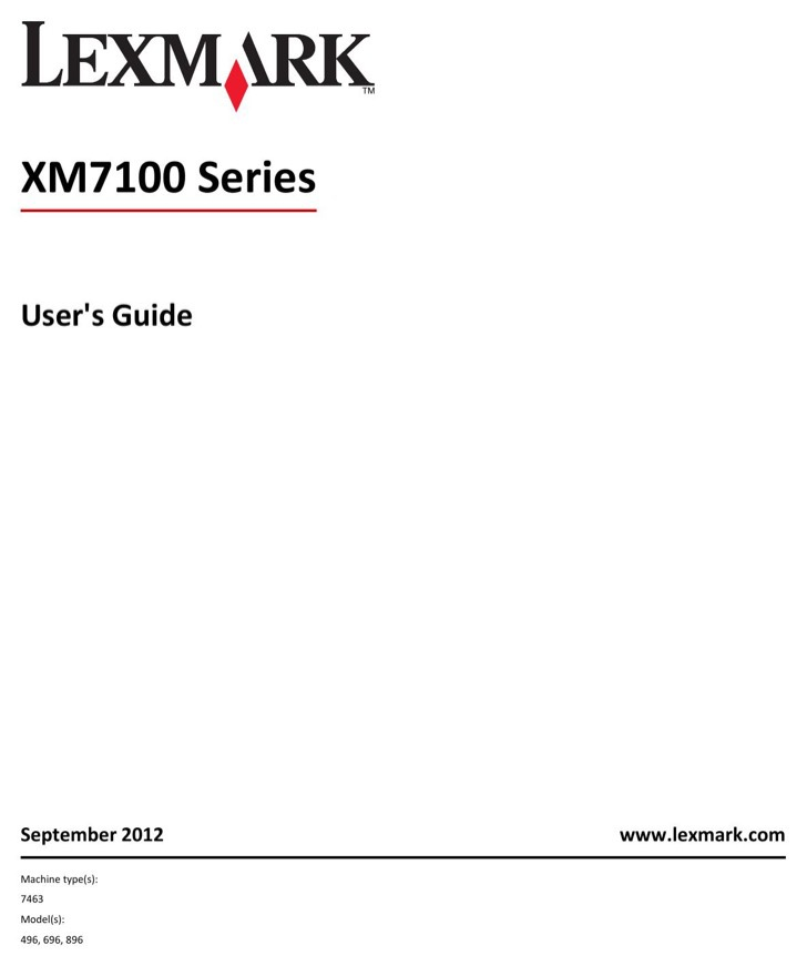 Lexmark Owners Manual Sample