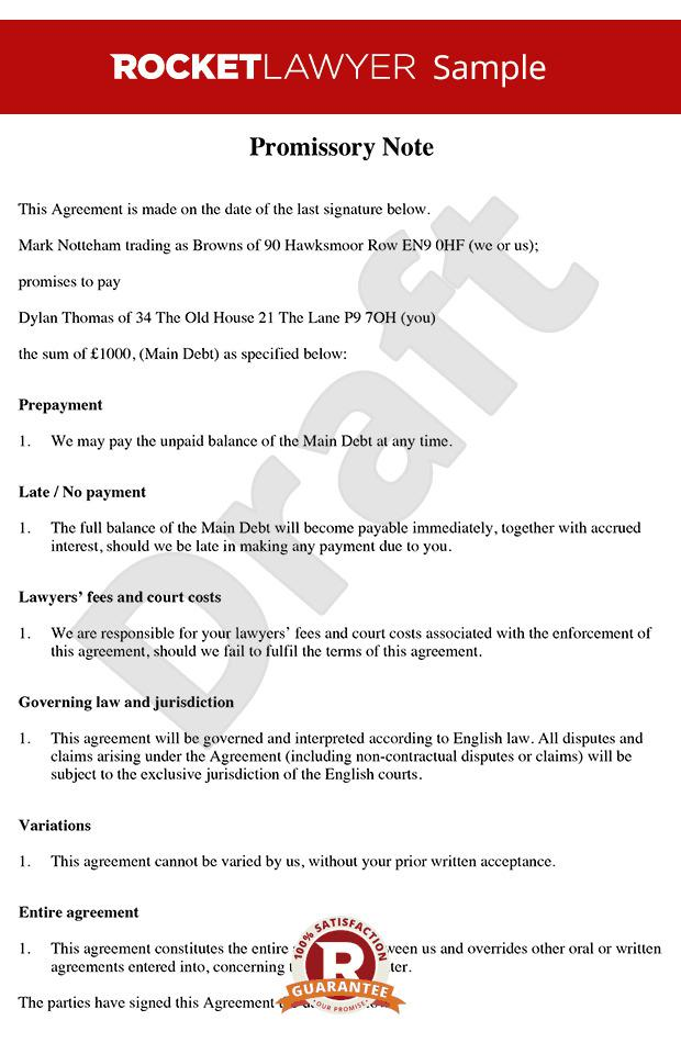 Licensing Lawyer Promissory Note Template Word