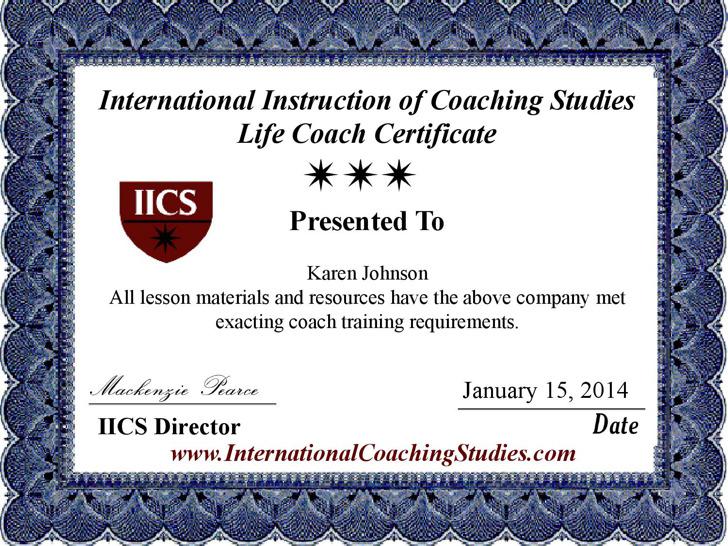 Life Coach Certificate Template