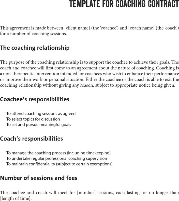 Life Coaching Contract Template