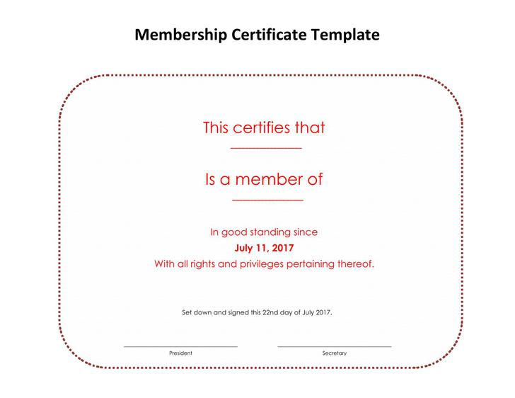 life membership certificate templates - 15 membership certificate template free download