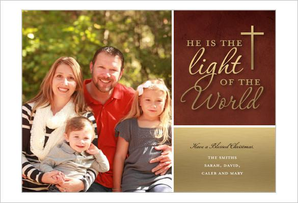 Light Of The World Religious Christmas Card Template