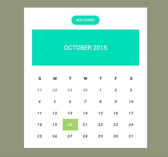 Litie-Flat CSS3 Calendar Including HTML Format
