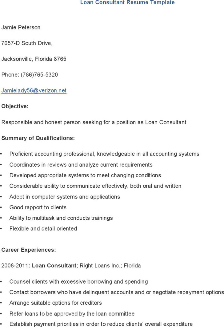 Loan Consultant Resume Template