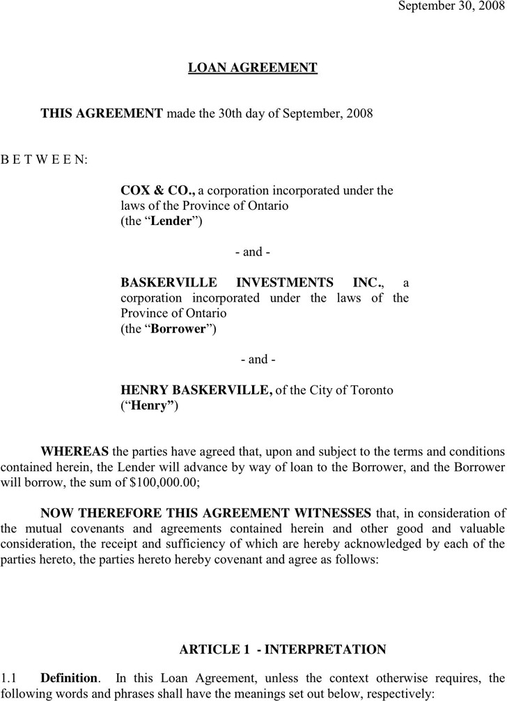 Loan Contract Template 3