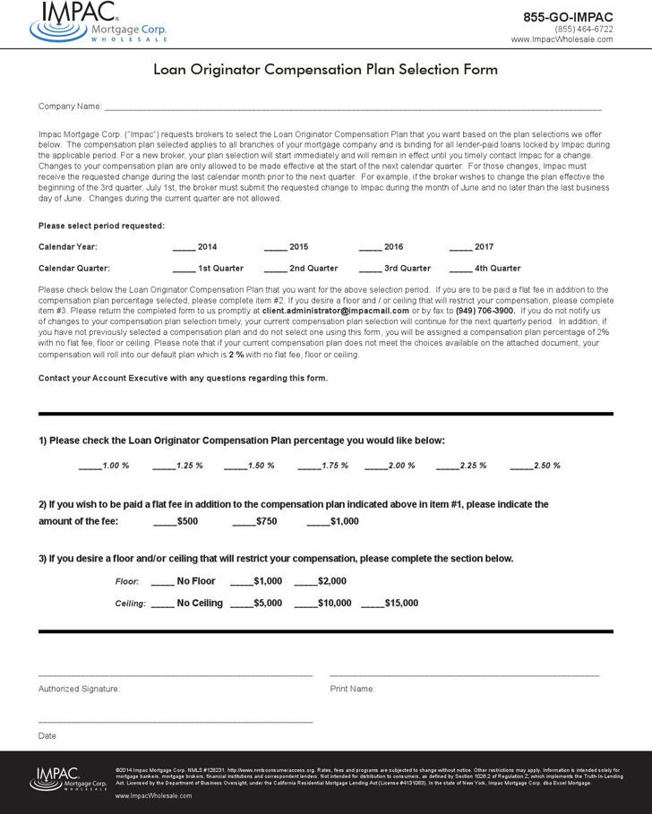 Loan Originator Compensation Plan Template