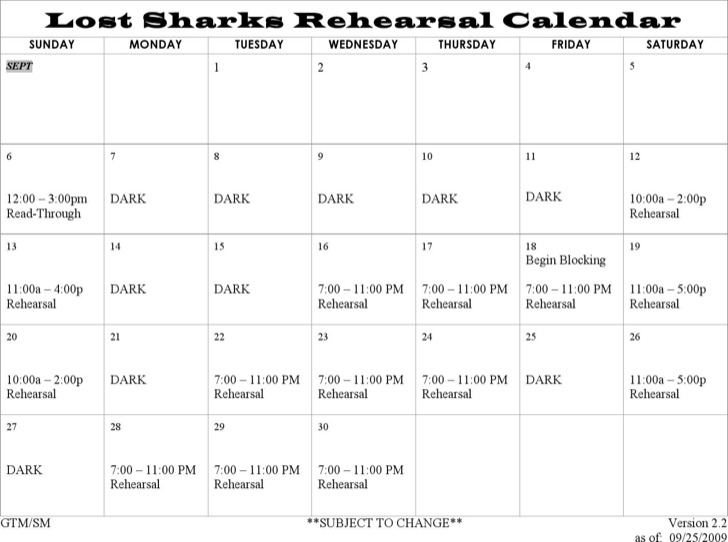 Lost Sharks Rehearsal Schedule Template Word Doc