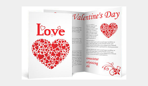 Love Hearts Valentines Day Brochure Template