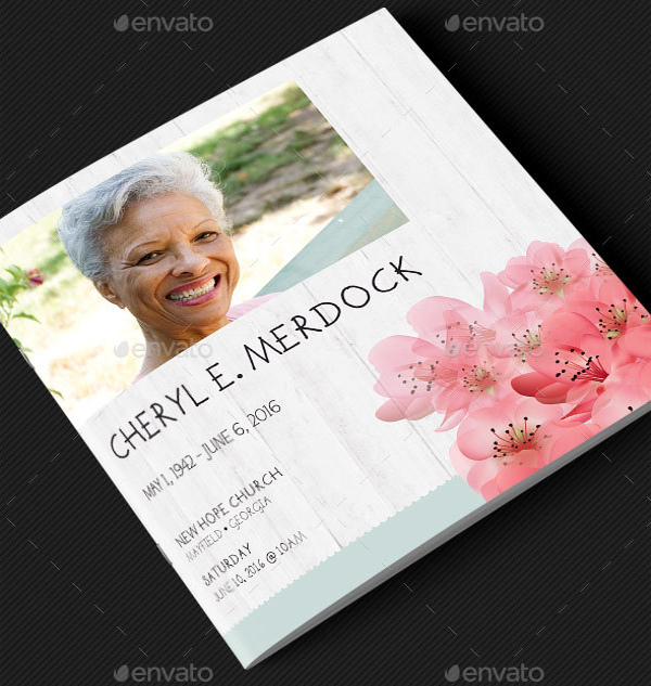 Magnolia Square Funeral Program Template