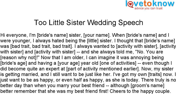 Maid of Honor Speeches for Sisters 1