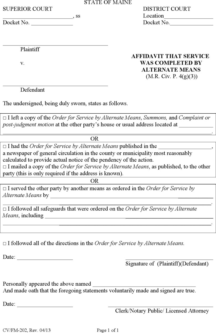the letter people 8 maine affidavit form free 13100 | maine affidavit that service was completed by alternate means form