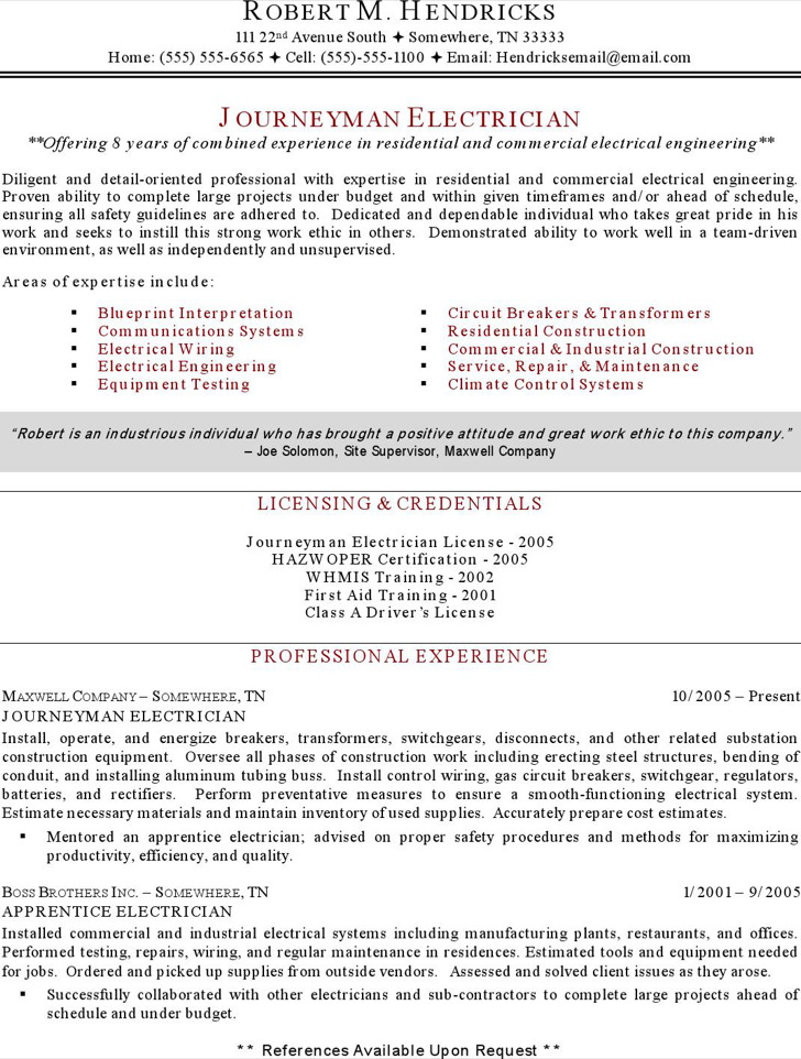 Maintenance Electrician Resume