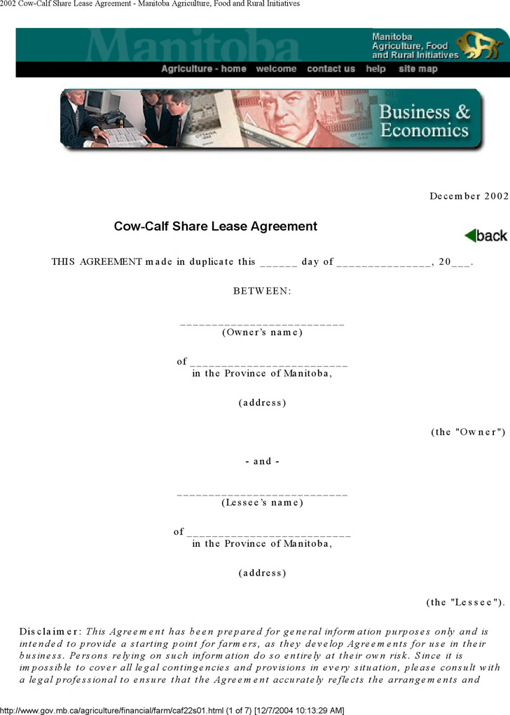 3 Manitoba Rent And Lease Template Free Download