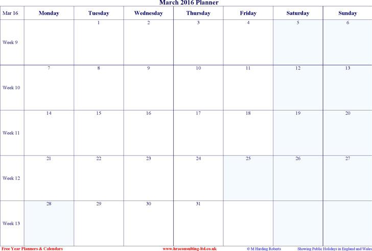 March 2016 Calendar 1