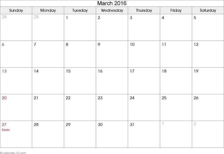 March 2016 Calendar 2
