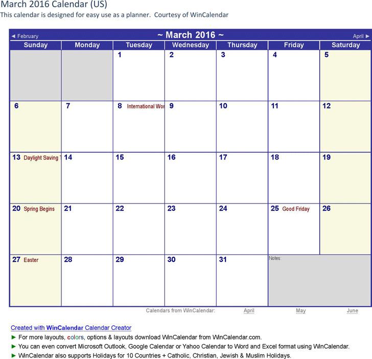 March 2016 Calendar 3