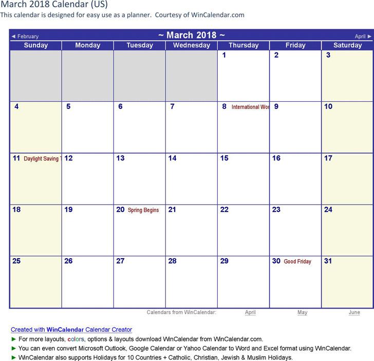 March 2018 Calendar 2