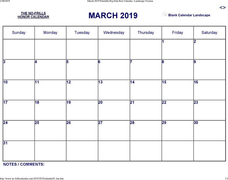 March 2019 Calendar 3