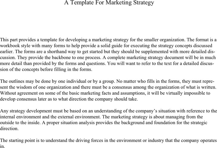 A Template for Marketing Strategy