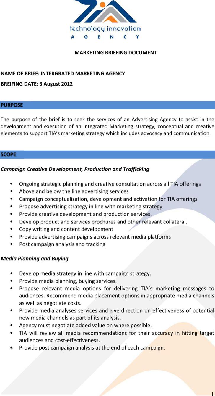 Marketing Agency Brief Sample Template