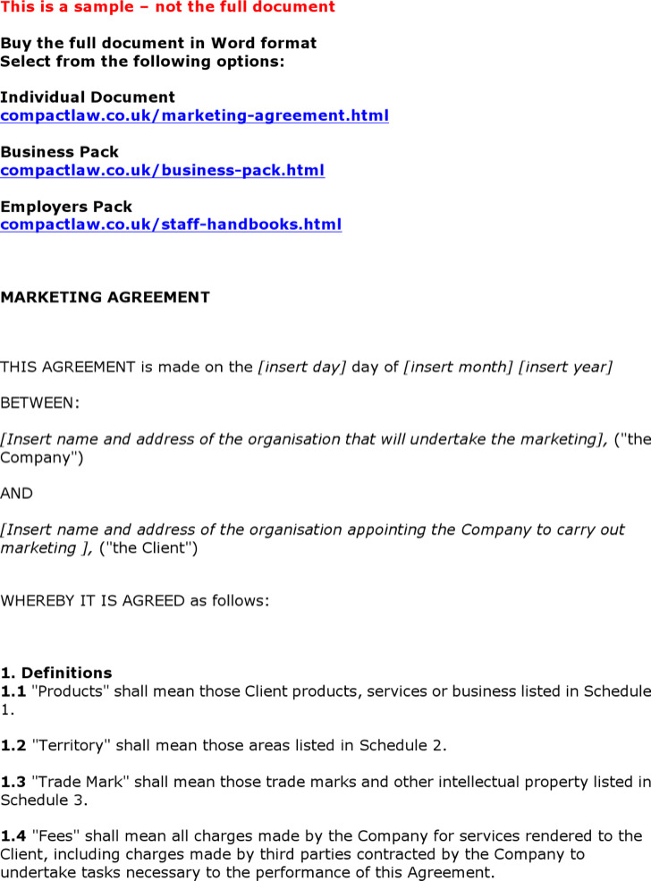7 Marketing Agreement Template Free Download