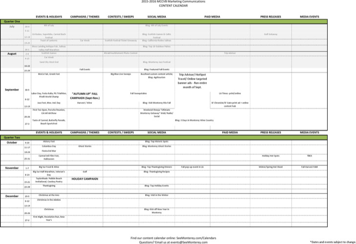 Marketing Communication And Content Calendar1