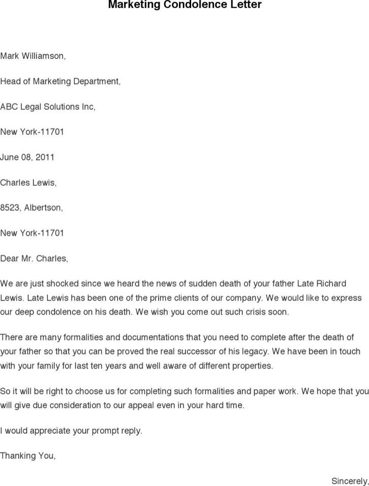 Marketing Condolence Letter
