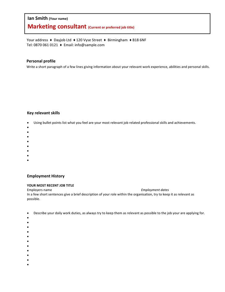 Marketing Consultant CV Template