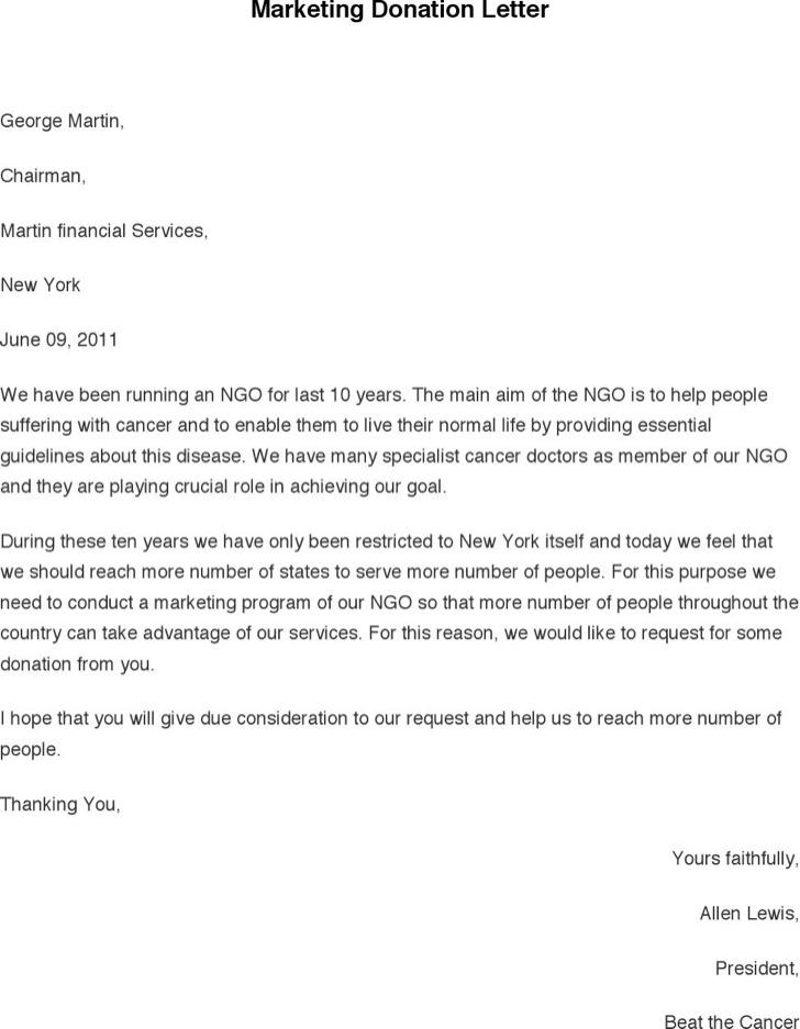 Marketing Donation Letter