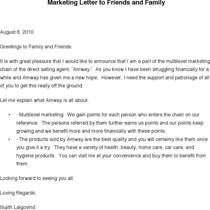 Marketing Letter To Friends And Family
