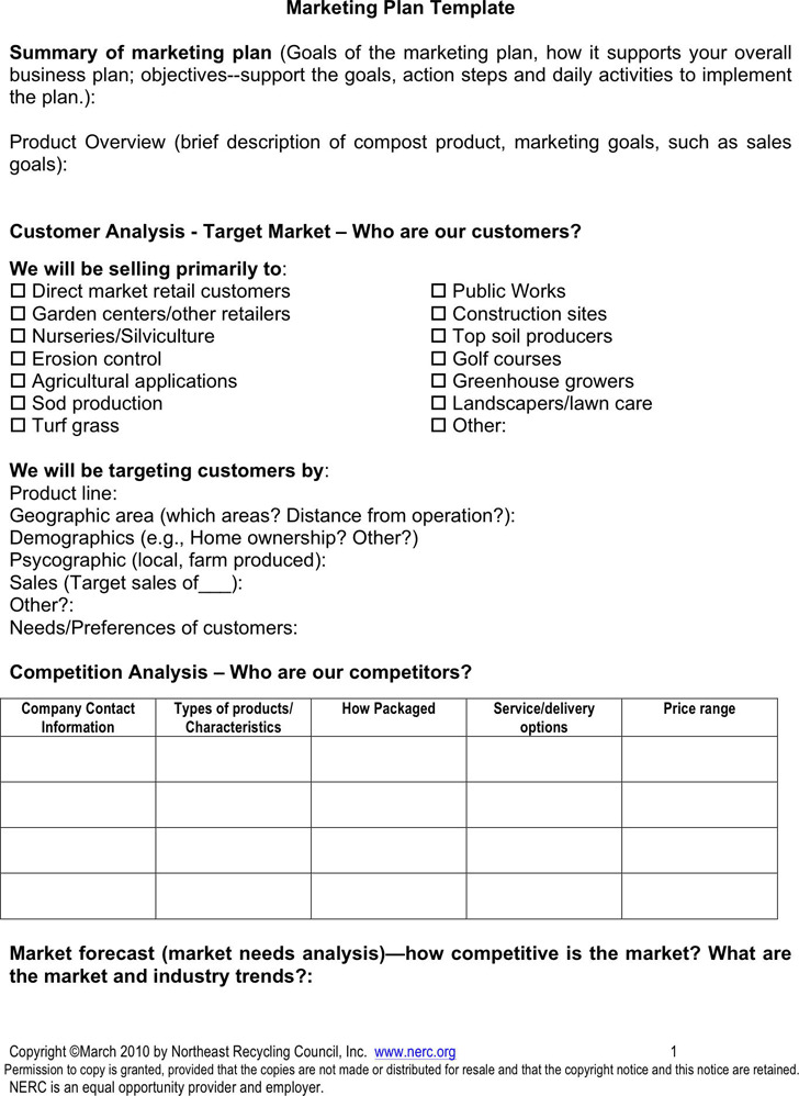 4 marketing plan template free download