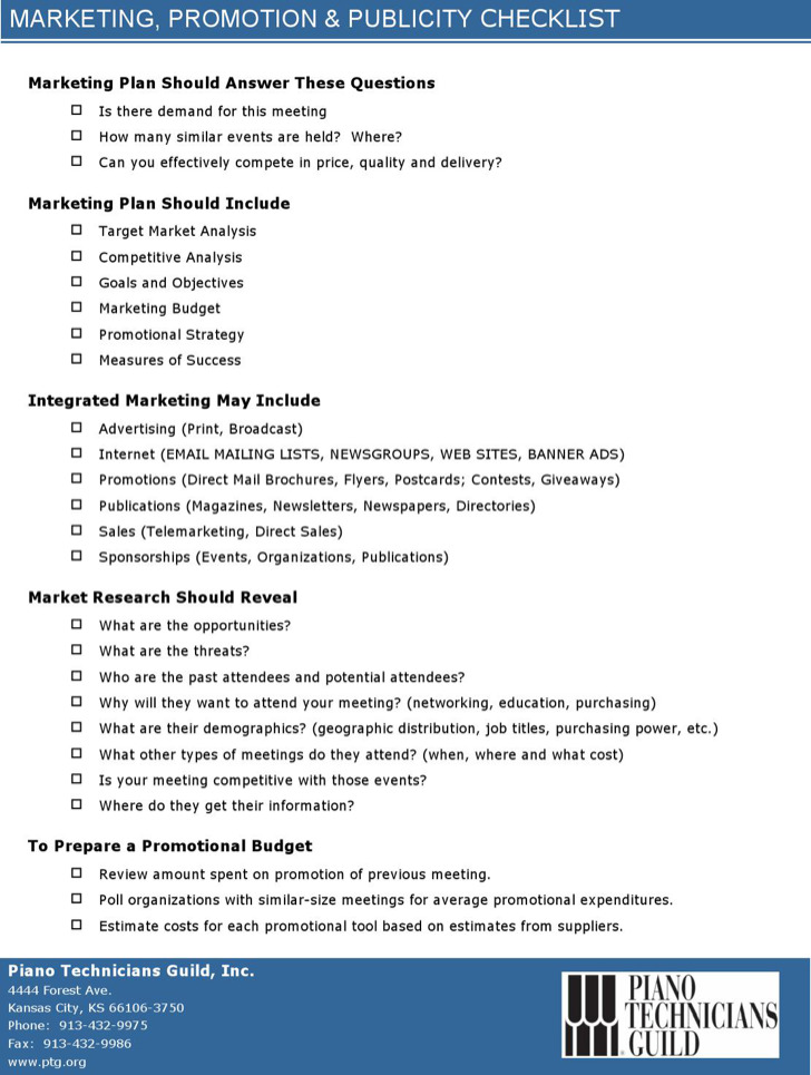 Marketing Promo Checklist