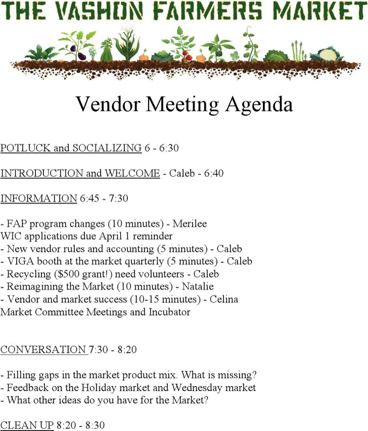 Marketing Vendor Meeting Agenda Example