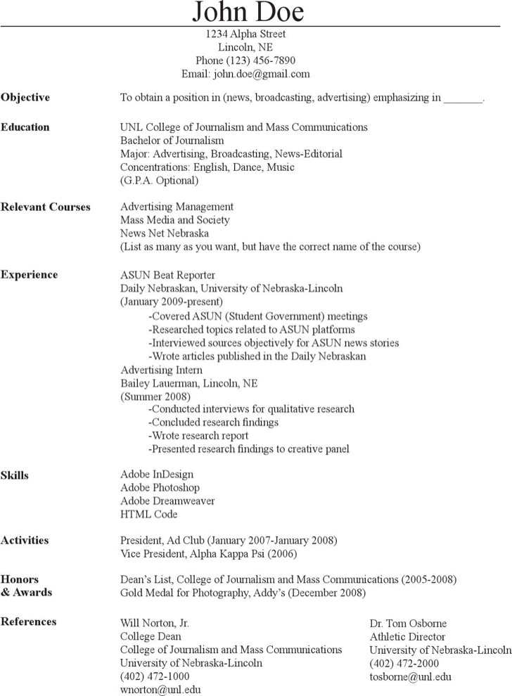 Mass Communication Journalism Resume