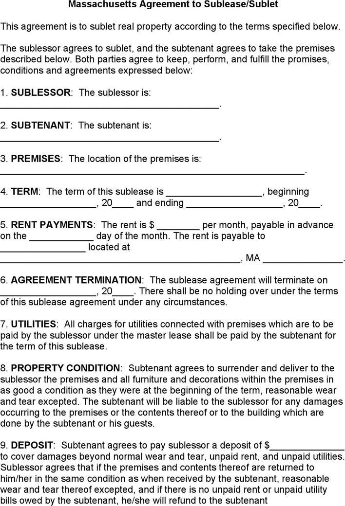 5 Massachusetts Rent And Lease Template Free Download
