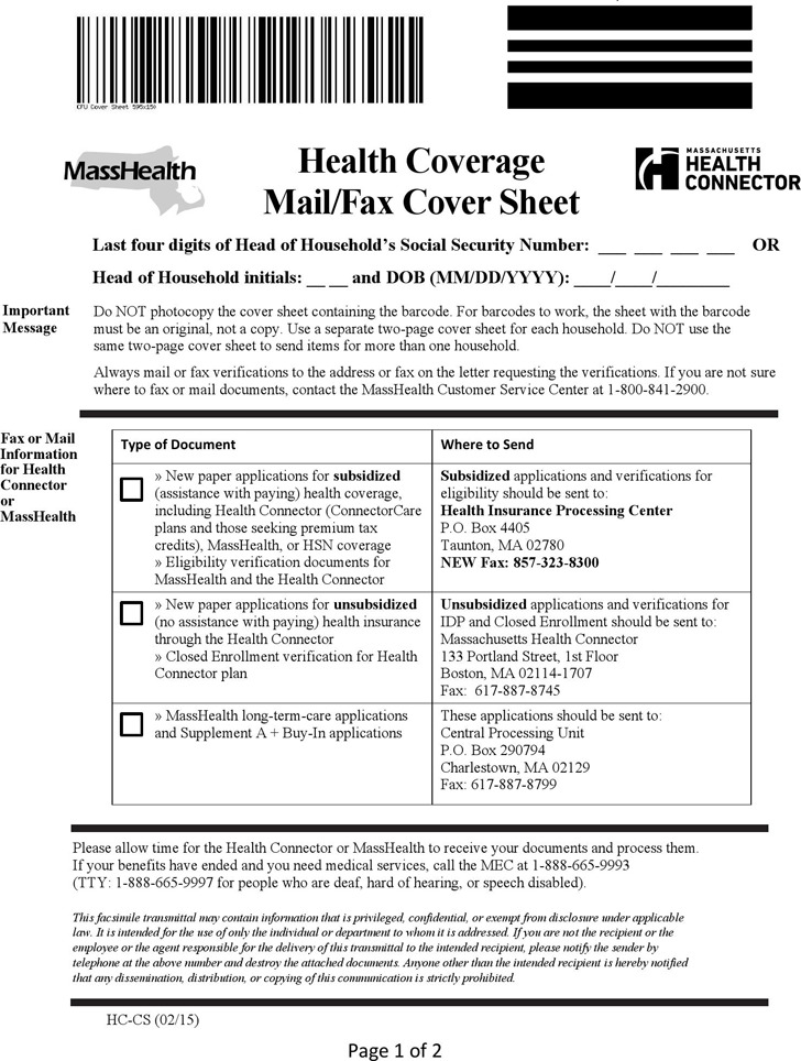 Masshealth Health Coverage Mail/Fax Cover Sheet
