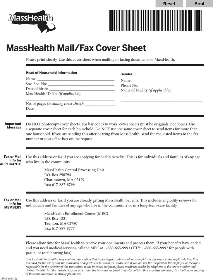 Masshealth Mail/Fax Cover Sheet