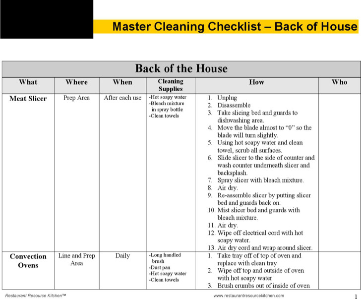Master Cleaning Schedule Template