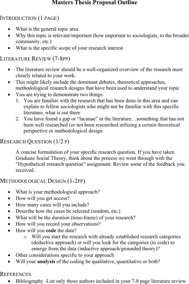 Masters Thesis Proposal Outline