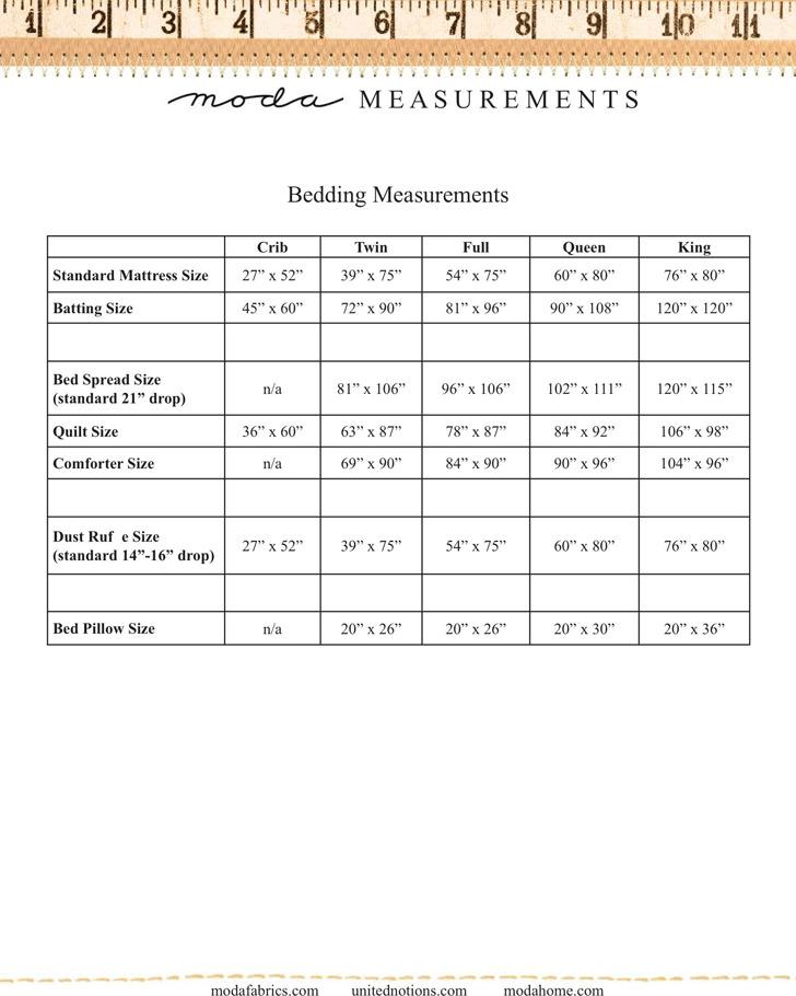 Mattress Size Chart 1