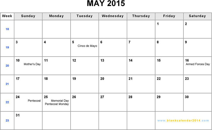 May 2015 Calendar 2
