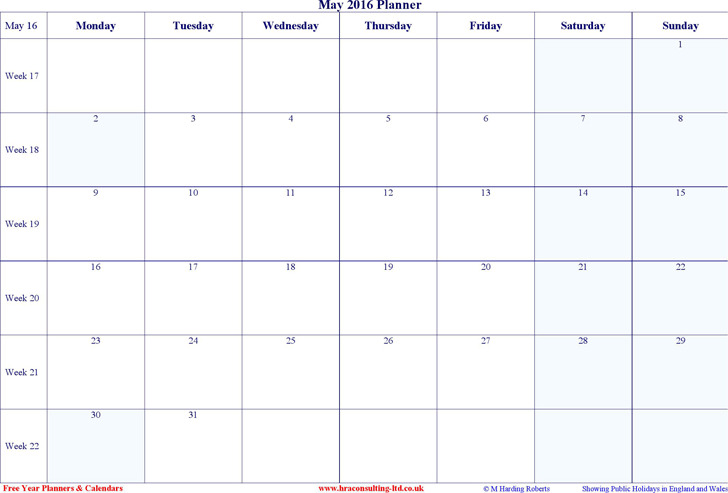 May 2016 Calendar 2