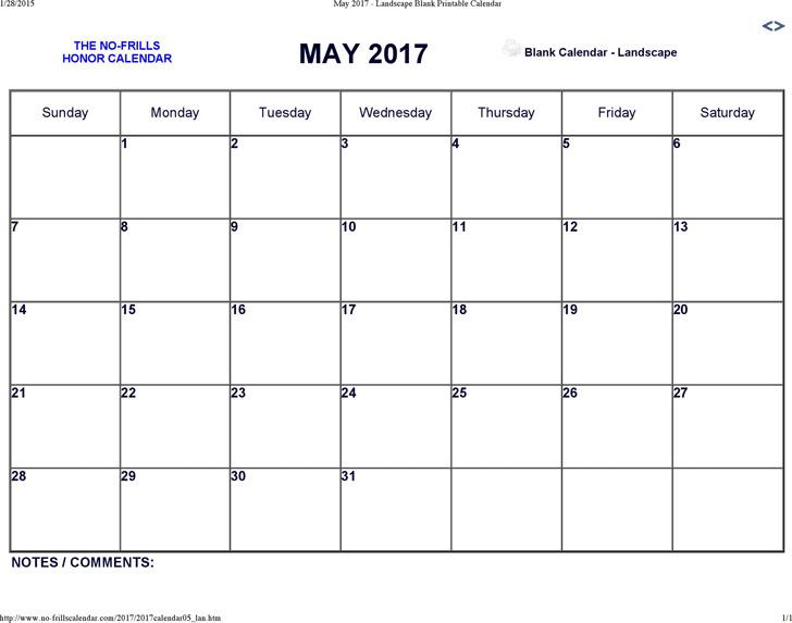 May 2017 Calendar 1