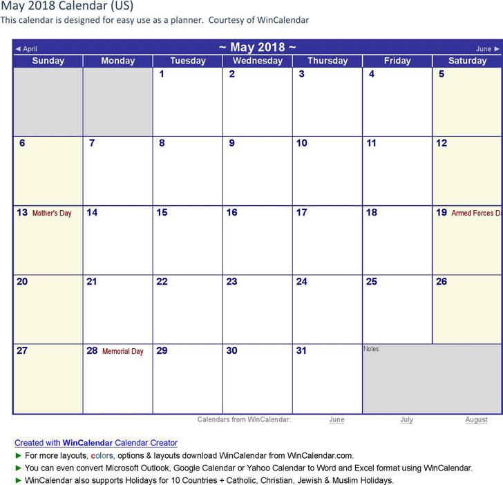 May 2018 Calendar 1