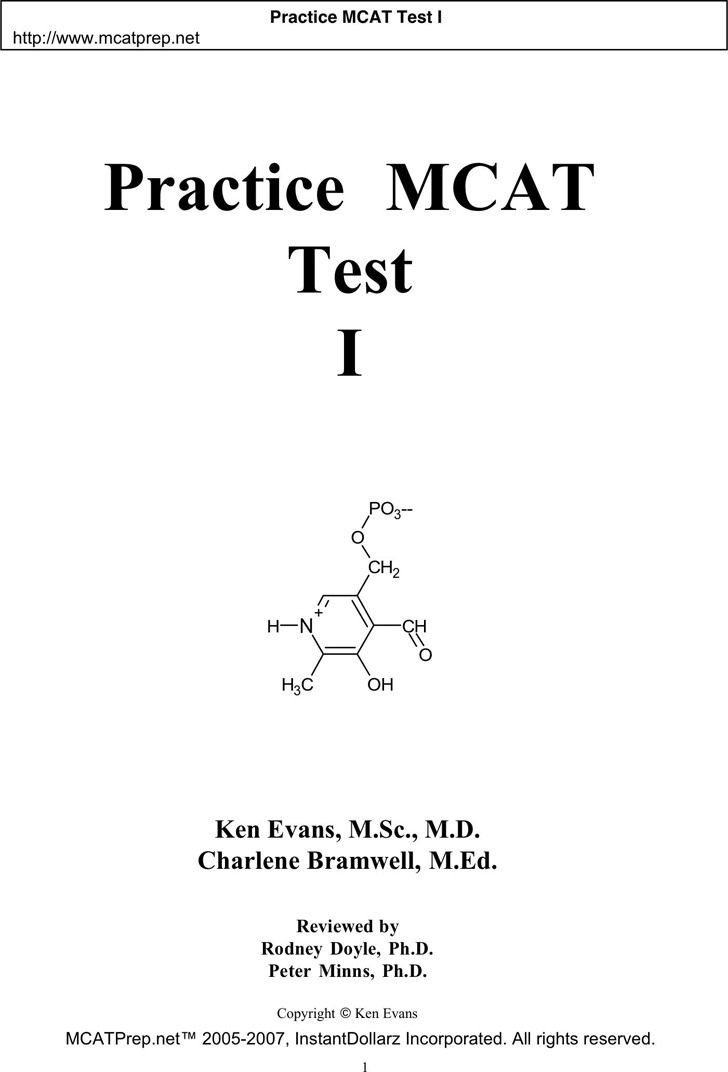 MCAT Sample Questions Template 1